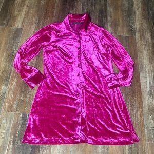 Twiggy London Hot Pink Velvet Velvety Shirt dress